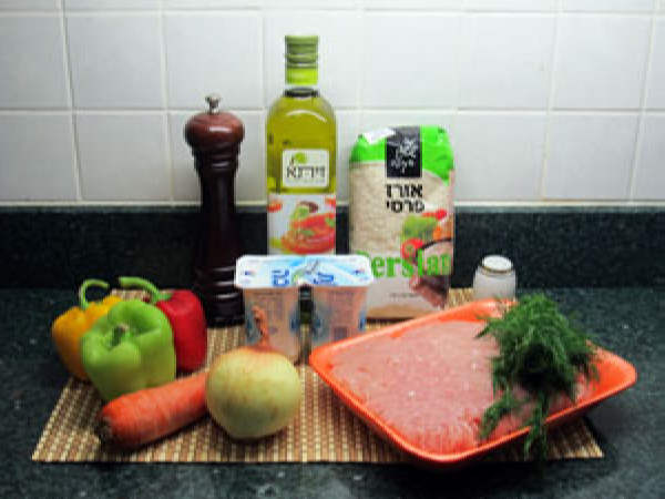 Ежики в сливочно-овощном соусе. Ингредиенты