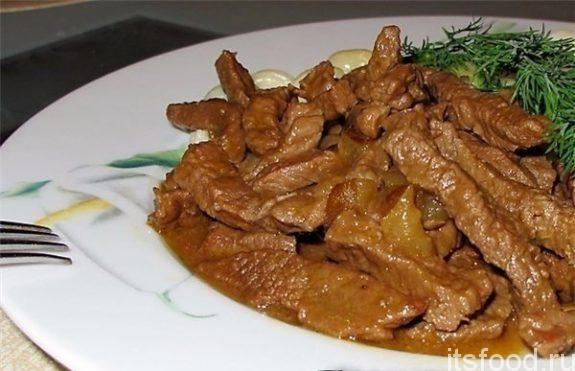 Бефстроганов из говядины со сметаной - классический рецепт с фото