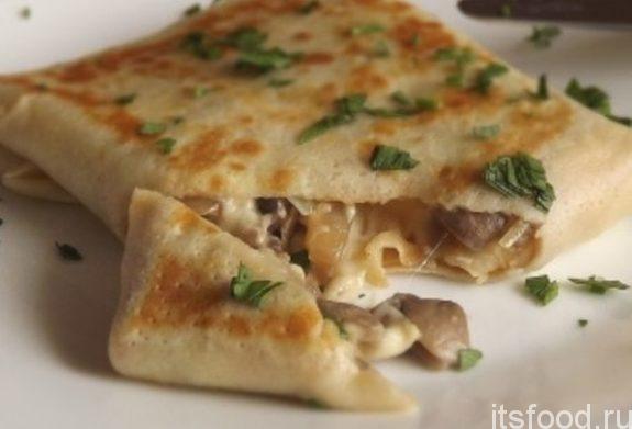 Блинчики с грибами и сыром - рецепт с фото
