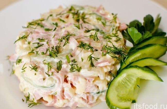 Салат с ветчиной и сыром и яйцом рецепт с