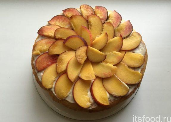 Персиковый торт на скорую руку