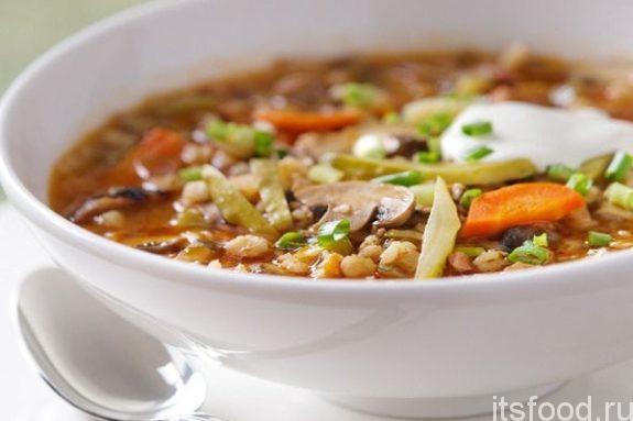 Грибной ячменный суп