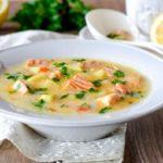 Кабачковый суп с сыром и семгой