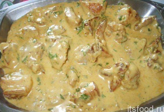 Cвинина в сливочном соусе на сковороде - рецепт
