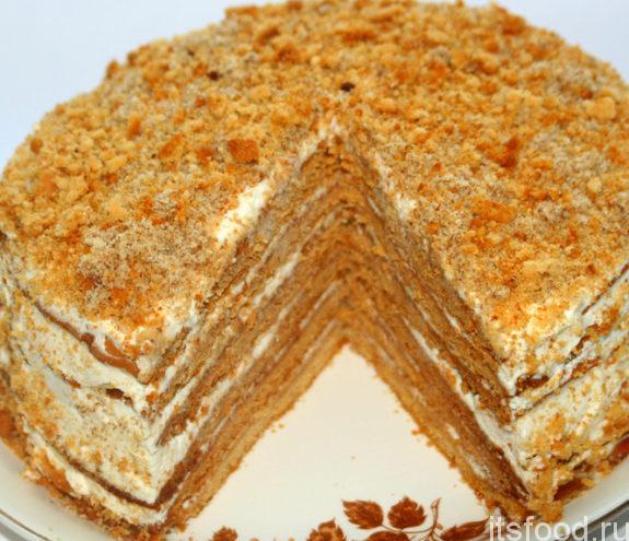 """Медовый торт """"Чудо"""" с тонкими коржами - рецепт с фото"""
