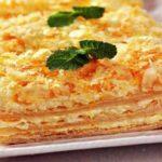Апельсиновый торт «Наполеон» из готового слоеного теста с заварным кремом, с фото