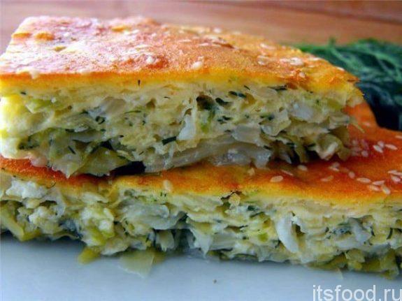 Пирог из капусты в духовке - рецепт с фото