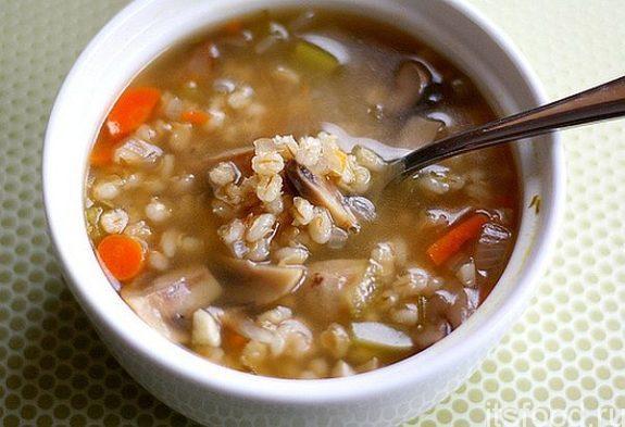 Грибной суп с перловкой - рецепт с фото