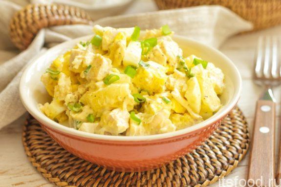 Салат курица с ананасами - рецепт с фото