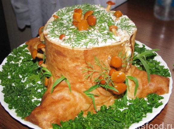 "Салат грибной ""Пенек"""