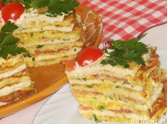 Легкий мясной тортик