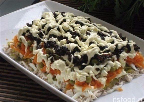 Салат с курицей - классический простой рецепт в домашних условиях