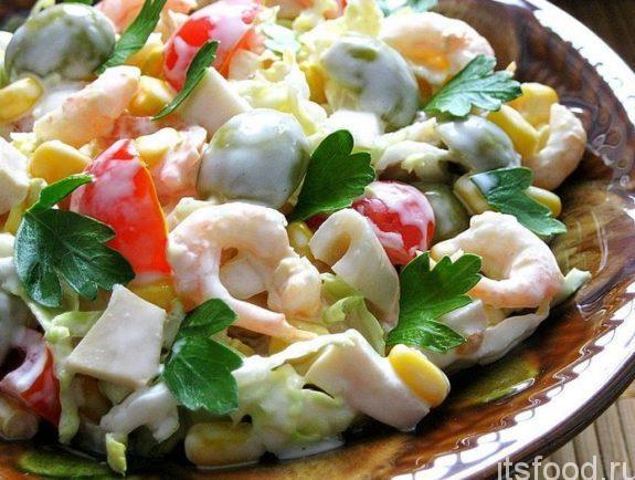 Салат с креветками  - очень вкусный рецепт с фото