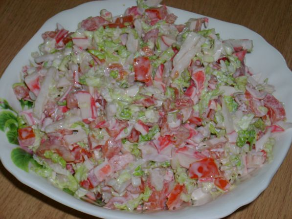 Рецепт салата крабовые палочки с помидорами с