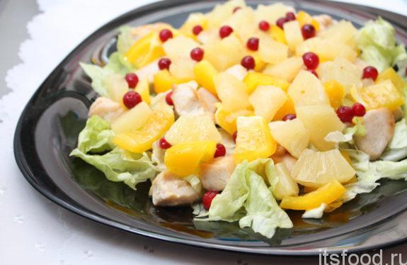 Салат из курицы с ананасом - очень вкусный рецепт с фото