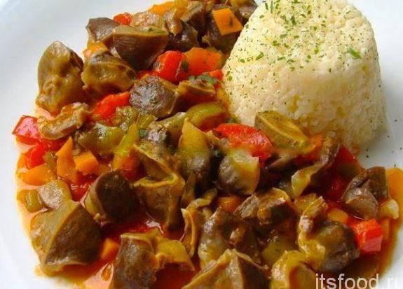 Куриные желудки сердечки печень рецепты пошагово 30