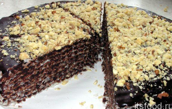 Шоколадный вафельный торт