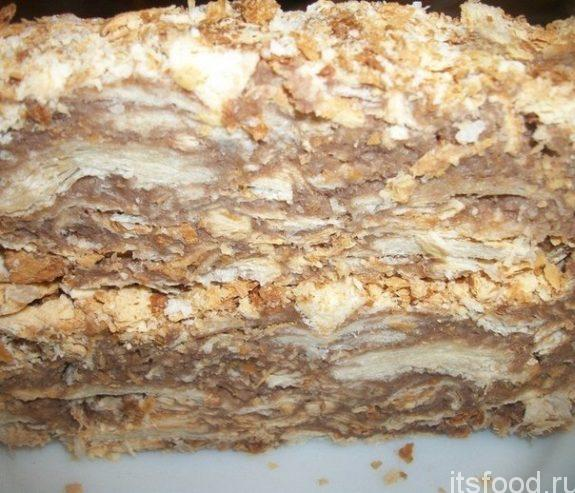 Быстрый торт «Наполеон» из готового слоеного теста
