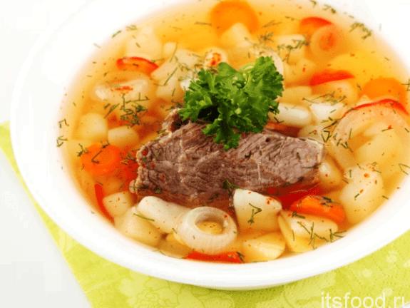 Суп с говядиной и тостами в мультиварке
