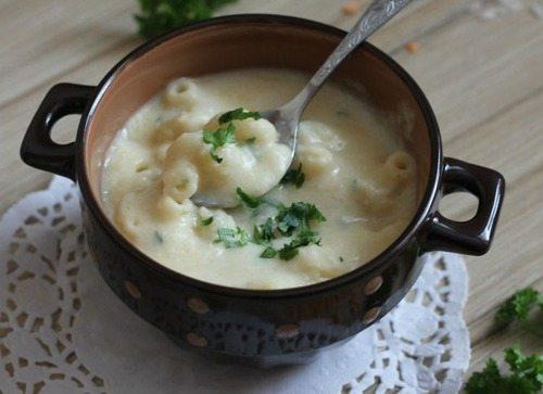 Суп-пюре из чечевицы, с макаронами и сливками