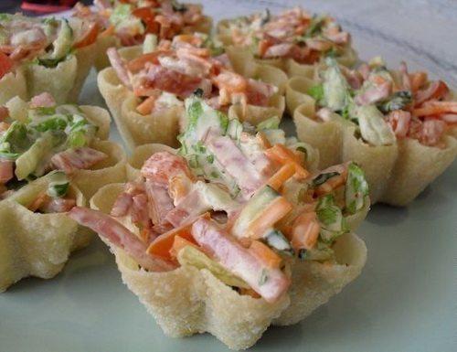 Простой салат в тарталетках рецепты