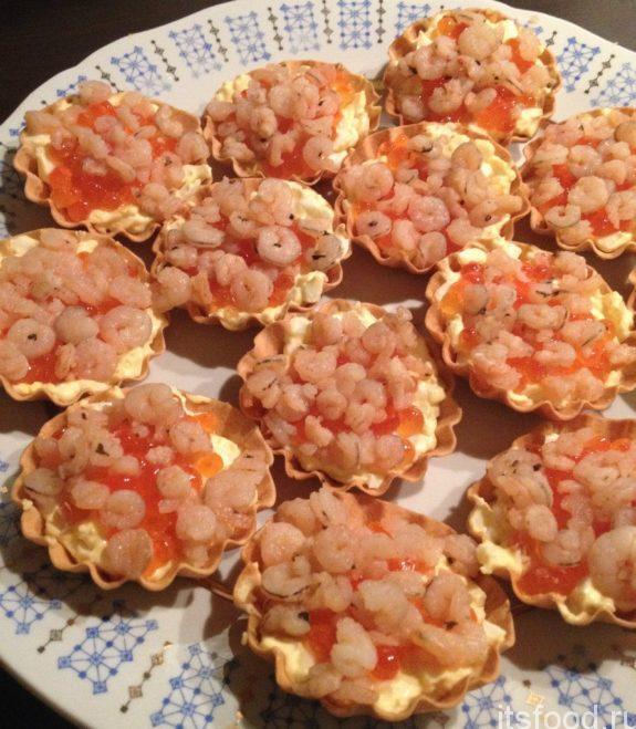 Закусочные тарталетки с креветками