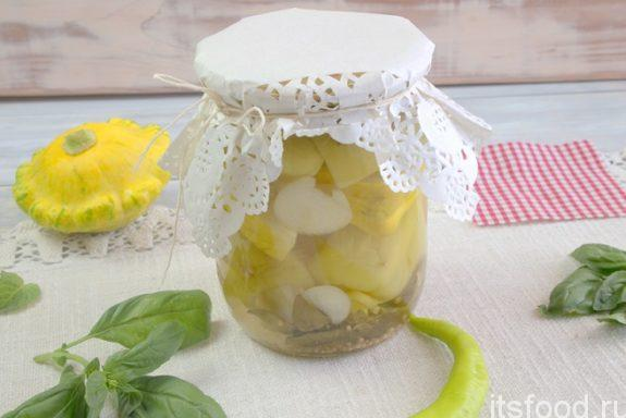 Болгарский перец с патиссонами в сладком маринаде