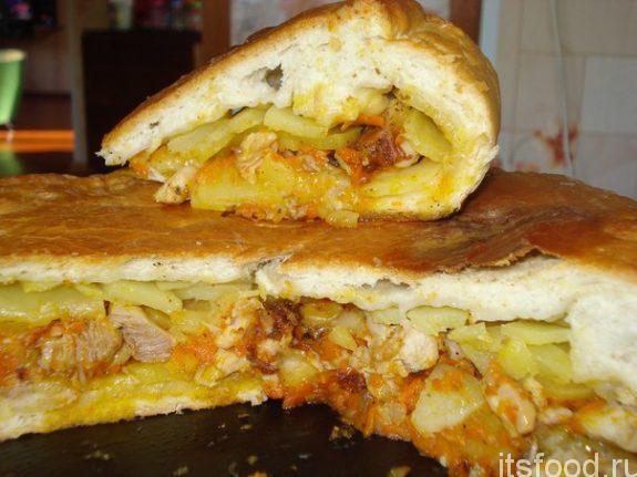 Пирог с курицей и картошкой в духовке - пошаговый рецепт с фото