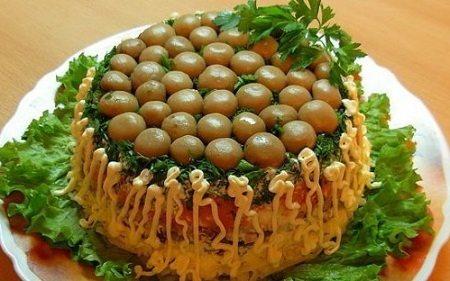 salaty s gribami i fasolyu  jpg