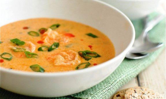Суп с плавленым сыром и креветками