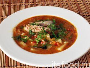Густая, наваристая томатная средиземноморская уха готова. Мы назвали это блюдо рыбный суп из лосося. Подаем этот рыбный суп в глубоких тарелках. Желательно положить в каждую порцию 1-2 кусочка отварной рыбы. Украшаем блюдо нарезкой из свежего укропа.