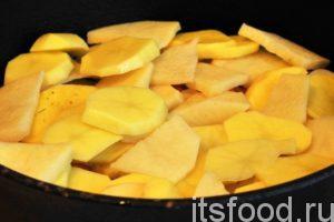 Посыпаем нижний ряд сухой овощной приправой «Кнорр», которая содержит соль, и выкладываем сверху еще один ряд картофельных дисков.