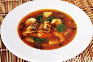 Грибной суп на курином бульоне готов. Подаем его в глубоких тарелках. Отдельно можно подать отварную курицу, чтобы не перебивать вкус белых грибов. Суп украшаем веточками свежего укропа.