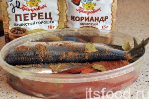 При общем весе рыбы и икры в 750 г нам будет достаточно 40-50 г соли (2 столовых ложки). Разведем соль в стакане теплой кипяченой воды. В нашу емкость для засола добавим черный душистый перец, который желательно заранее раздробить. Добавим молотый кориандр и кусочки лаврового листа. Не стоит злоупотреблять большим количеством пряностей, ими можно легко испортить вкус конечного продукта.