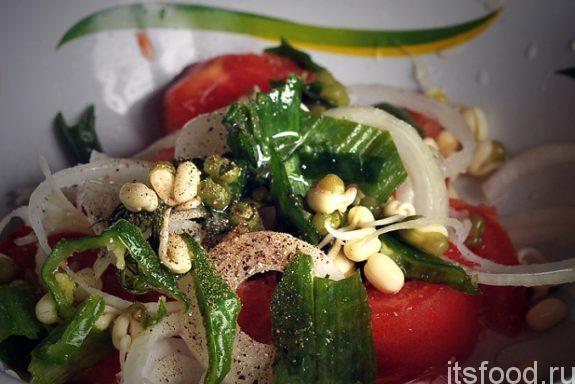 Салат с ростками фасоли маш