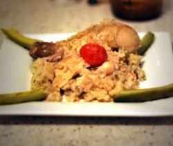 Курица запеченная с рисом в духовке