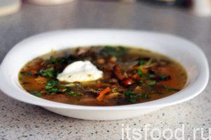 Щи из квашеной капусты с грибами готовы. Разливаем ароматный суп по глубоким тарелкам. Желательно добавить сметану. Украшаем щи нарезкой из свежей зелени петрушки или укропа.