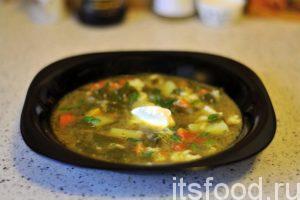 Суп со шпинатом на гусином бульоне готов. Подаем горячий и ароматный суп в глубоких тарелках. Можно украсить блюдо нарезкой свежей зелени. Добавление сметаны снизит остроту.