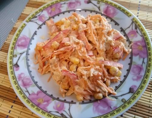 салат с куриной грудкой и корейской морковью